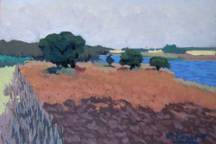 1. Encinas del pantano, 2005, óleo sobre tabla, del natural, 250, Pantano de Gasset, Fernán Caballero, Ciudad Real, 19x27 cm