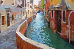 2. Canal veneciano (2008), óleo sobre lienzo