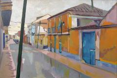 7. El portón añil, 2009, Calle Cervantes, Argamasilla de Alba. Óleo sobre lienzo, sin medidas ni precio
