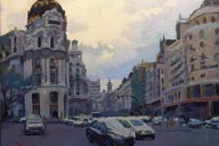 9. Metropolgreen, 2009, calle Gran Vía desde Alcalá, Madrid. Óleo sobre lienzo. Sin medidas ni precio