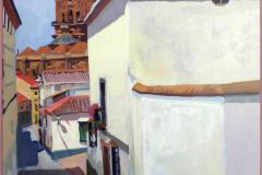 12. Bajada al Cristo (2010), Guadix, Granada. Óleo sobre tabla del natural, 100x81 cm. Pendiente de recoger del Ayuntamiento de Guadix