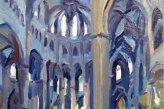 15. Interior de la catedral, 2010, Girona. A partir de foto, óleo sobre tabla. 50€