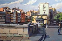 19. Puente sobre el Onyar, 2010, Girona. Óleo sobre tabla, a partir de foto del autor. 27x22 cm. 135 €