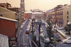 20. Mañana de nieve, 2010, Girona. Óleo sobre tabla, a partir de una foto del autor. 27x22 cm, 135€