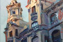 23. Torres coloradas, 2010, calle Gran Vía, Madrid. Óleo sobre tabla, 11x12 cm