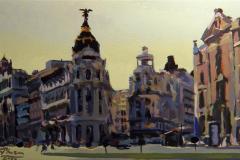 26. Metrópolis invernal, 2010, Calle Gran Vía, Madrid. Óleo sobre tabla, 40x20 cm. 180€