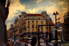 28. Metro Sol, 2010, Puerta del Sol, Madrid. Óleo sobre tabla, 14x18 cm. 80€