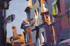 7. Balcones de Toledo (2010), óleo sobre tabla, 11x12 cm