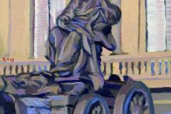 11. Cibeles sola, 2011, Plaza de Cibeles, Madrid. Óleo sobre lienzo, 12,11 cm, 55€