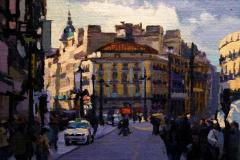 18. Solspress, 2011, Puerta del Sol, Madrid. Óleo sobre tabla sobre lienzo, 22x26 cm, 145€