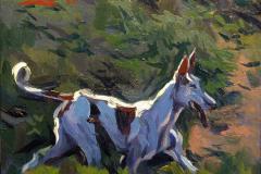 19. Podenco ibicenco, 2011. Motivo cinegético, óleo sobre tabla, 11x12 cm. 35€