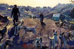 20. Suelta de rehalas, 2011, motivo cinegético. Óleo sobre tabla sobre lienzo, 18x30 cm. 145€