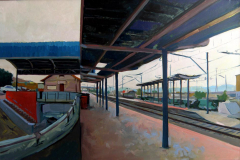 24. Estación de Meco, 2011, Meco, Guadalajara. Óleo sobre lienzo, 60x92 cm, 450€