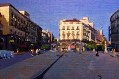 31. La Mallorquina y trece diminutos, 2011, Puerta del Sol, Madrid. Óleo sobre tabla sobre lienzo, 22x27 cm, 180€