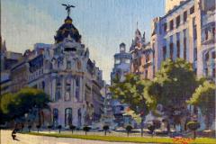 34. Metrópolis bicicleta, 2011, Calle Alcalá, Madrid. Óleo sobre tabla. 225€