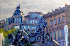 38. Cibeles a chorros, 2011, Plaza Cibeles, Madrid. Óleo sobre tabla, 20x23 cm