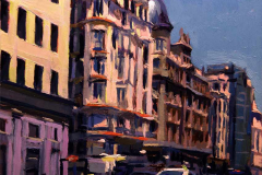 4. The blue-sky, 2011, Gran Vía, Madrid. Óleo sobre tabla, 14x12.5 cm