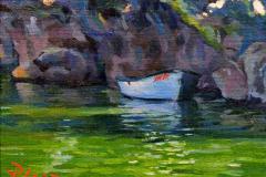 6. La Mir, 2011, Lagunas de Ruidera, Ciudad Real. Óleo sobre lienzo pegado en tabla, 19x22 cm. Sin precio