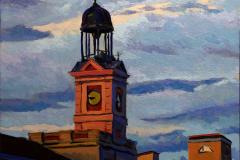 19. Las 9 menos cuarto, 2012, Puerta del Sol, Madrid. Óleo sobre tabla, 18x18 cm. 105€