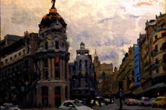 2. Metrópolis cubierto, 2012, calle Gran Vía, Madrid. Óleo sobre lienzo sobre tabla, 22x27 cm. 170€