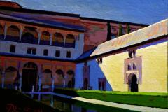 22. Arrayanes de la Sierra, 2012, Alhambra, Patio de los Arrayanes, Granada. Óleo sobre lienzo, 14x18 cm. 75€