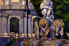 25. Cibeles la tierna, 2012, Plaza de Cibeles, Madrid. Óleo sobre tabla, 18x18 cm. 105€
