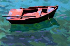 3. Barcanglada, 2012, Lagunas de Ruidera, Ciudad Real. Óleo sobre tabla, 18x18 cm. 105€