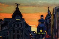 32. Gran Vía resabiá, reloaded, part five, edición coleccionista, etapa dura, Rolen Plaza, 2011, calle Gran Vía, Madrid. Óleo sobre tabla, 12,5x18 cm. 65€