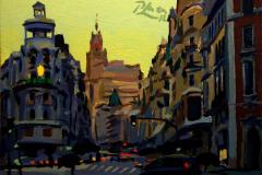 35. Los secretos de Gran Vía, 2012, Calle Gran Vía, Madrid. Óleo sobre tabla, 12,5x18 cm. 65€