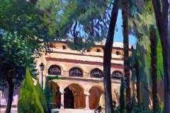 8. Santa María y el parterre, 2012, Daimiel, Ciudad Real. Óleo sobre lienzo, 60x81 cm. 400€