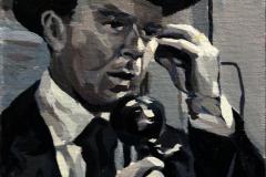 13. Llamando a la central (2013), Al rojo vivo, 1949. Óleo sobre tabla, 21x14 cm. 85€