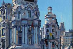 23. Metrópolis trece (2013), Calle Gran Vía, Madrid. Óleo sobre lienzo, 46 x 27 cm. 550€