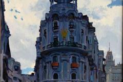 5. Gris Grassy (2013), Calle Gran Vía, Madrid. Óleo sobre lienzo, 46x27 cm. 600€