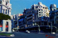 6. La casa del Rey (2013), Calle Gran Vía, Madrid. Óleo sobre tabla, 11x20 cm. 65€