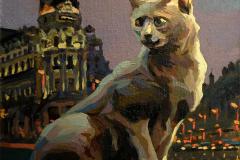 7. Fénix el gato (2013), Calle Gran Vía, Madrid. Óleo, 17x18 cm. 105€