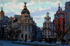 1. Levanta Metrópolis (2014), Calle Alcalá, Madrid. Óleo sobre lienzo, 27 x 46 cm. 450€