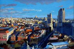 10. Vista de Gregorio y Ezequiel (2014), Calle Princesa, Madrid. Óleo sobre lienzo sobre tabla, 31 x 42 cm. 550 €
