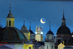 12. Luna grande de San Francisco (2014), Iglesia de San Francisco, Madrid. Óleo sobre tabla, 20 x 40 cm. 350 €