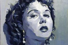 13. La malilla (2014), Gloria Grahame, actriz. Óleo sobre tabla, 16 x 16 cm. 75€