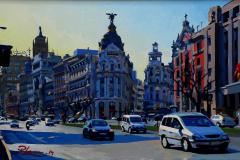 17. Rue d'Alcalá (2014), Calle Alcalá, Madrid. Óleo sobre lienzo, 27 x 46 cm. 1000€