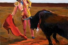 6. Embestida tardía (2014), José Tomás, matador. Óleo sobre tabla, 17 x 19 cm. 70€