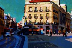 10. De sol a Sol (2015), Puerta del Sol, Madrid. Óleo sobre tabla, 18 x 18 cm. 105€