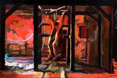 29. Buey abierto en canal (2015), homenaje a Rembrandt. Óleo sobre tabla, 11 x 18 cm. 60€
