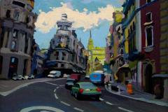 30. Divertrópolis (2015), Calle Gran Vía, Madrid. Óleo sobre tabla, 24 x 20 cm. 120€