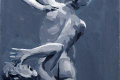 34. El rapto de las Sabinas (2015), escultura de Juan de Bolonia. Óleo sobre tabla. 65€