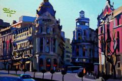 35. Metrópolis 15 (2015), Calle Alcalá, Madrid. Óleo sobre tabla, 24 x 27 cm. 215€