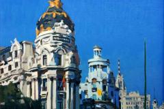 4. Metrópolis otro (2018). Madrid Alcalá-Gran Vía. Óleo, 20 x 20 cm. Colección particular